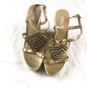 Ralph Lauren Gold embellished cork wedge sandal 10
